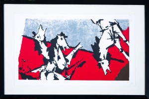 MF Husain - 4 Horses in Red & Grey - 83 x 52 cm - Lithograph 125/150