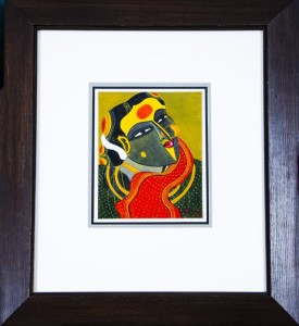 Thota Vaikuntam - Woman with Red Shawl - 24 x 28 cm - Acrylic on Canvas