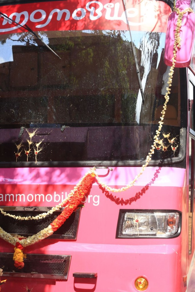 Puja blesses the bus on arrival
